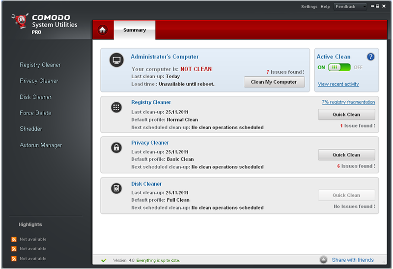 Click to view Comodo System-Cleaner 3.0.172695.53 screenshot